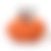 1 pendentif halloween citrouille argenté et orange
