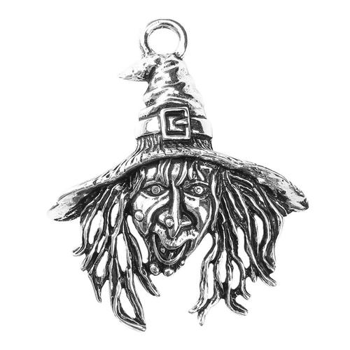 1 pendentif sorcière halloween argenté