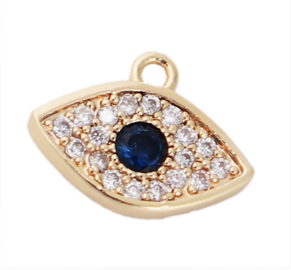 pendentif oeil strass cristal et bleu métal doré