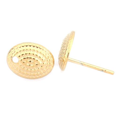 1 paire de clous d'oreille ovale acier inoxydable doré