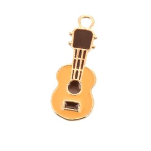 1 pendentif guitare instrument de musique métal doré émail marron