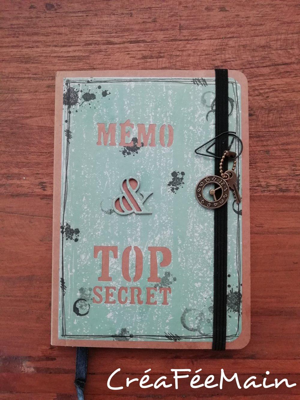 """Carnet décoré main """"Top secret"""""""