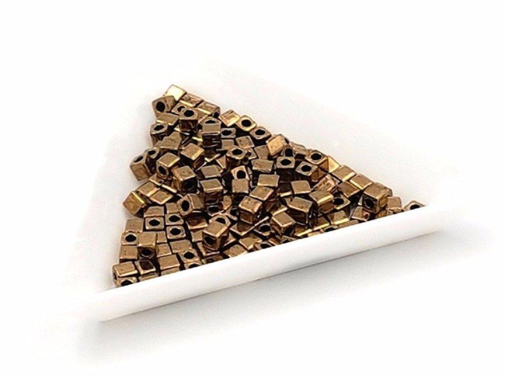 15 grammes de perles Miyuki Cubes 3mm Bronze Foncé Métallique