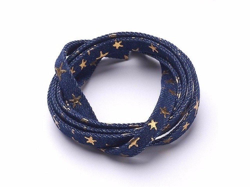 Lanière en jeans coton tissé bleu médium motifs étoiles dorées 10mm, au mètre