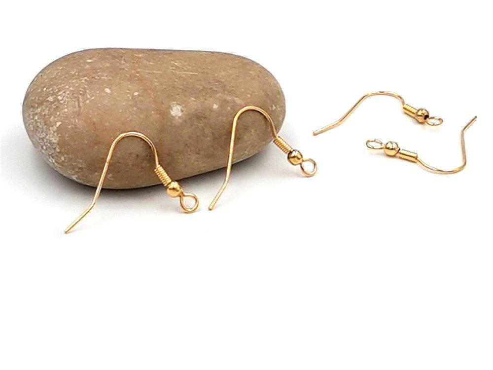 10 crochets d'oreilles hameçons acier inoxydable or doré 20mm