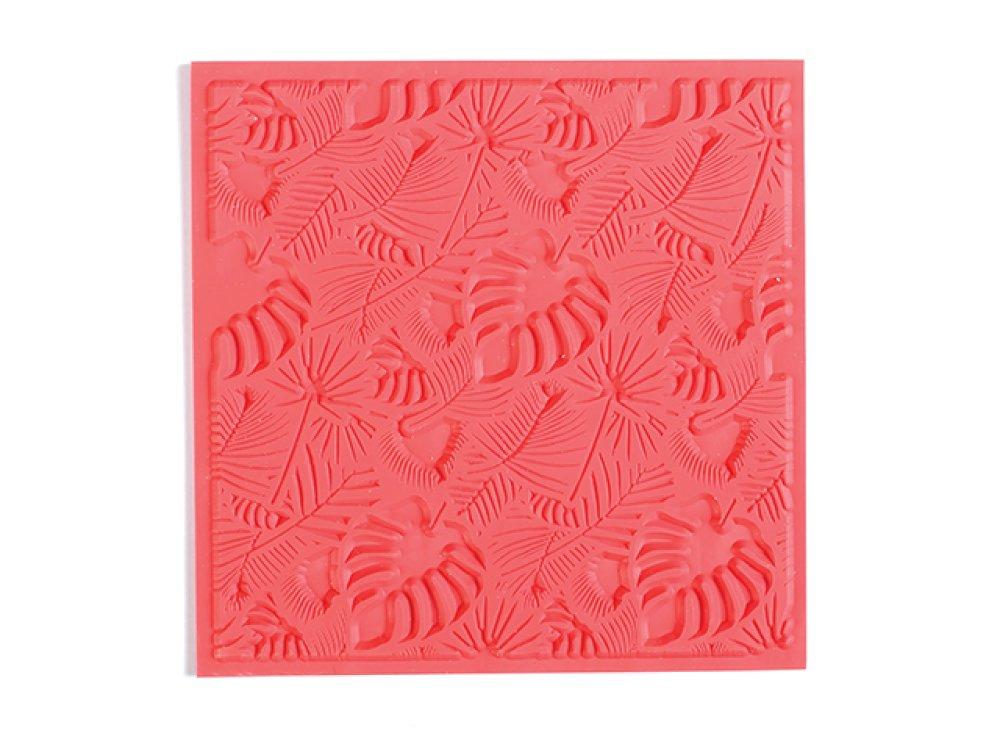 Plaque de texture pour pâte polymère Feuillage 9cm
