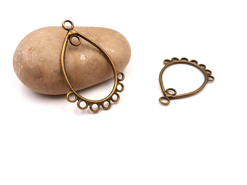 10 chandeliers 7 attaches forme goutte couleur bronze