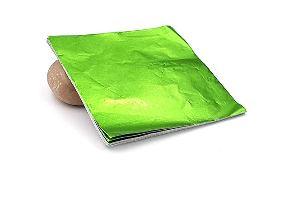 100 feuilles à dorer 8x8cm couleur vert pour dorure