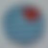 Cabochon avec son image de marinière, bleu, blanc, rouge, en verre, rond, 20 mm