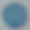 Cabochon avec son image de marinière, bleu, blanc, en verre, rond, 20 mm