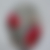 Cabochon, ovale, coquelicot, en verre 18 x 25 mm