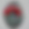 Cabochon, ovale, coquelicot, libellule, en verre 18 x 25 mm