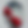 Cabochon, ovale, coquelicot, libellule, en verre 18 x 25 mm, rouge, noir, gris,