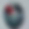 Cabochon, ovale, coquelicot, papillon, en verre 18 x 25 mm, gris, noir, rouge