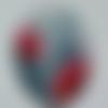 Cabochon, ovale, coquelicot, en verre 18 x 25 mm, gris, rouge,