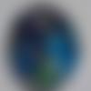 Cabochon, ovale, chats, en verre 18 x 25 mm