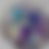 Cabochon de verre, image de fleurs violette, 20 mm, multicolore,