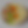 Cabochon de verre, image de fleurs oranges, 20 mm,