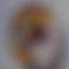 Cabochon de verre visage de femme, ovale, 13x18 mm, multicolore