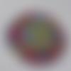 Cabochon, géométrique, imprimé africain, bordeaux, bleu, jaune, 20 mm, multicolore,