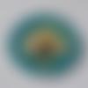 Cabochon fleur, bleu, jaune, 20 mm,