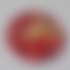 Cabochon fleurs rouges, 20 mm, verre,