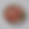 Cabochon fleur corail, 20 mm, verre,