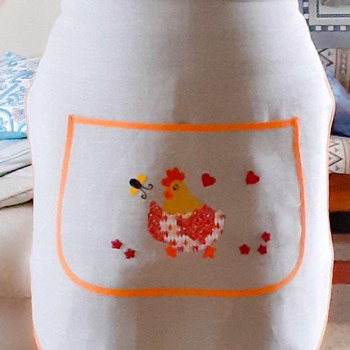 Tablier fait main, 100% lin, appliqué coton réalisé à la main, h 54 cm, l base 68 cm, ceinture +liens 178 cm