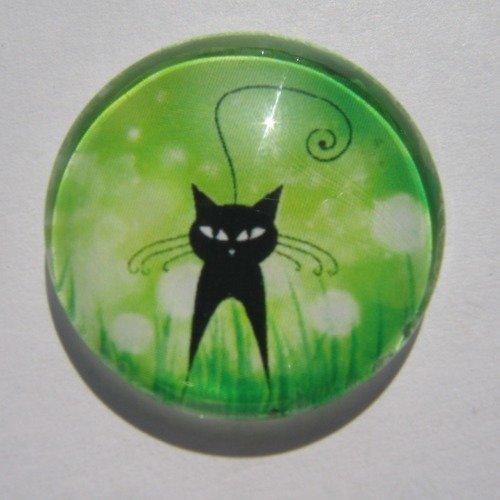 Cabochon chat, rond, en verre, 20 mm, noir, vert,