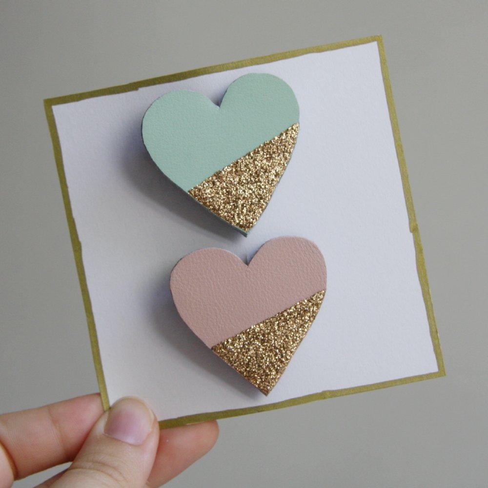 Lot de 2 barrettes cœurs - coloris au choix
