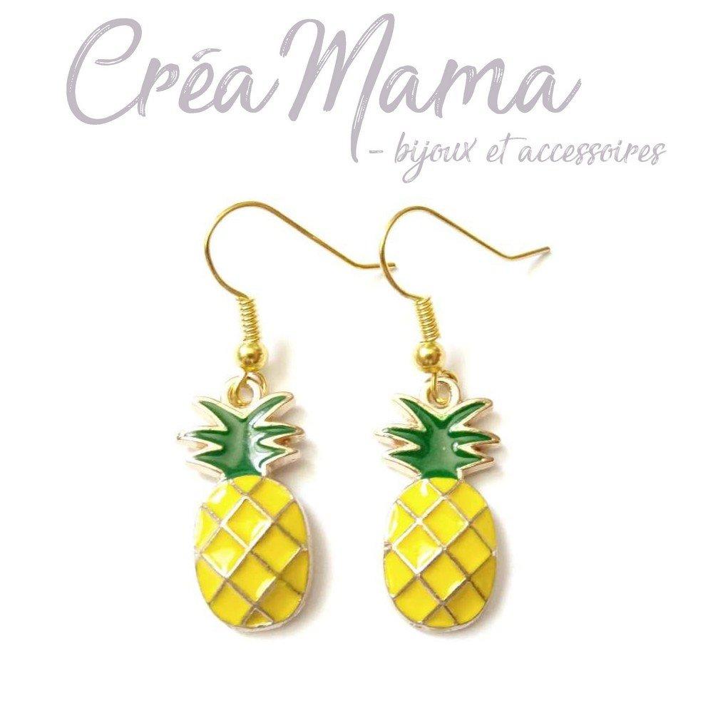 """Boucles d'oreilles """"Ananas"""" - Sur attaches crochets"""