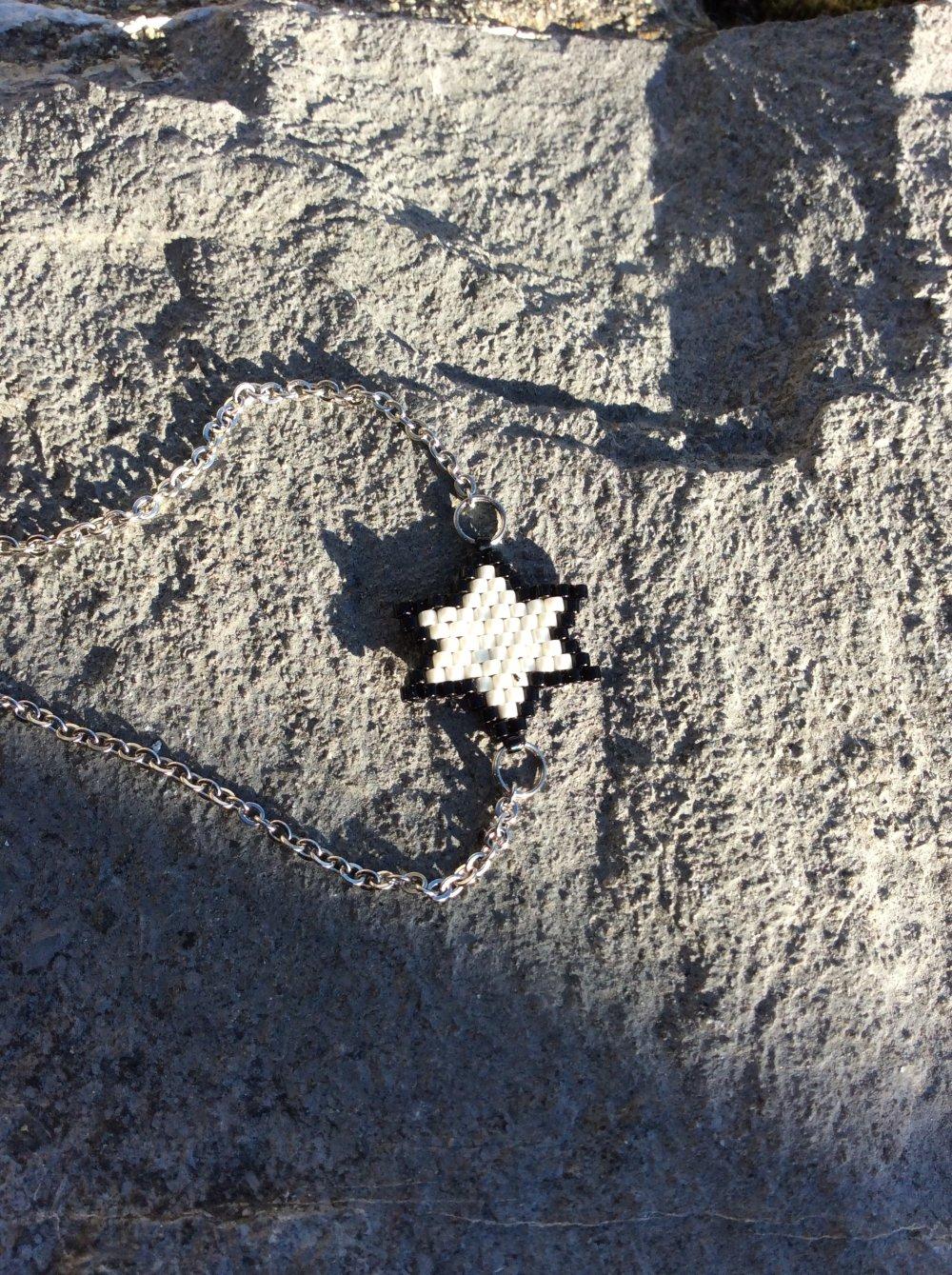 Bracelet miyuki étoile noire, blanche