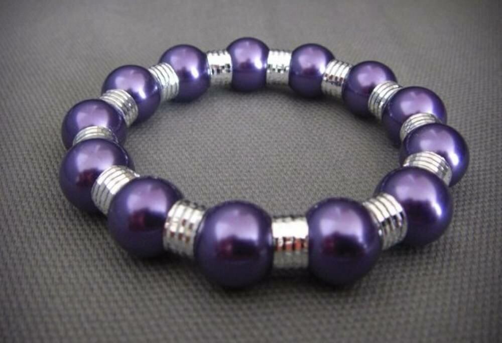 Bracelet de grosses perles nacrées VIOLETTE