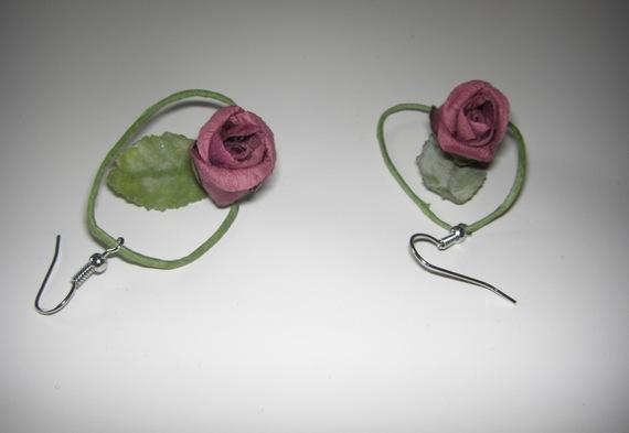 Boucles d'oreilles ROSE BORDEAUX