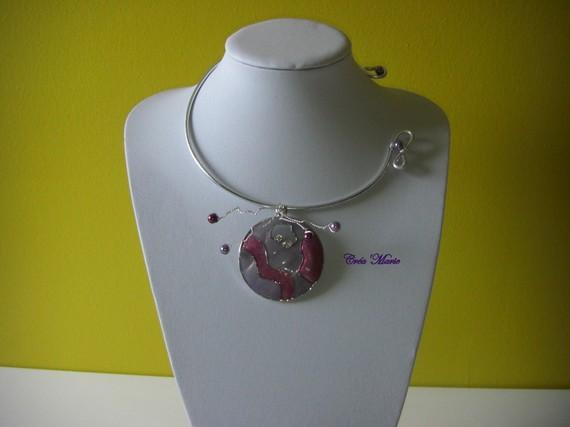 Collier EMAIL mauve violet parme Co139