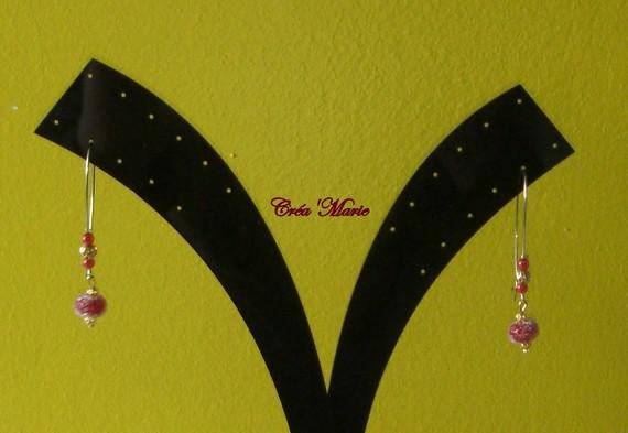 Boucles d'oreilles grands crochets PERLE BORDEAUX & rouge Bo116