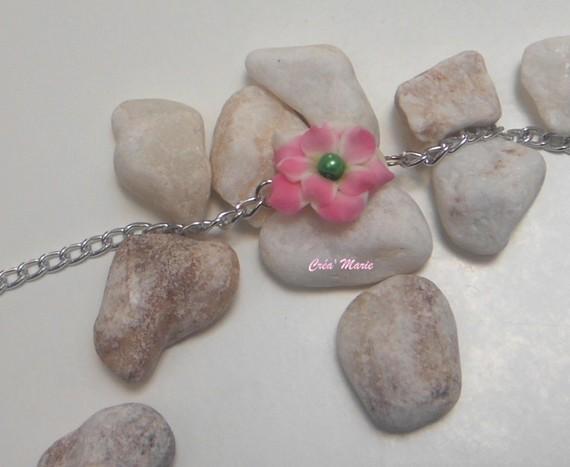 Bracelet FLEURETTE rose vert argenté Bra078