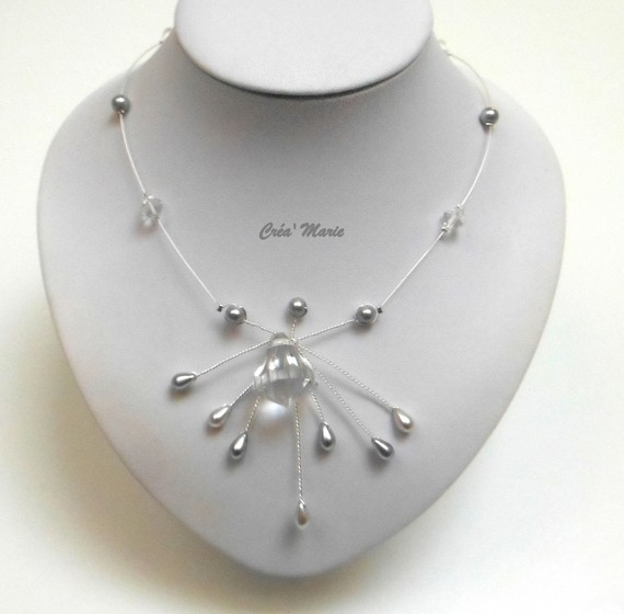 Collier mariage DIAMANT CRISTAL & gris Co330
