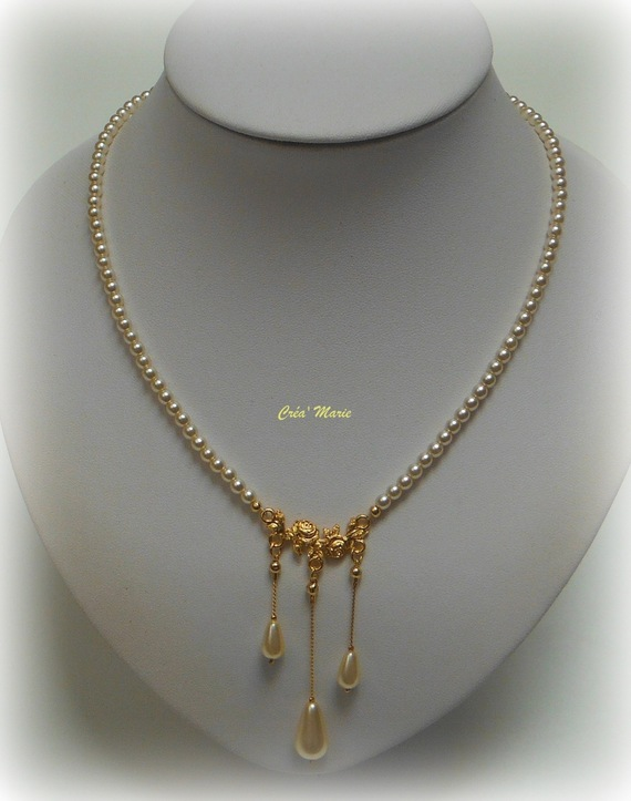 CHIC & CLASSIQUE - Collier de mariée perles IVOIRE