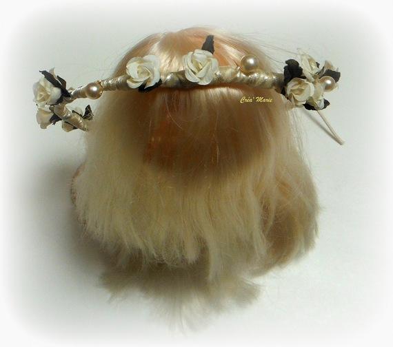 FLORAISON IVOIRE - Couronne/Headband/Serre-Tête