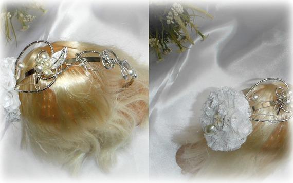 Serre-Tête / Couronne mariage cérémonie FLEUR dentelle blanche