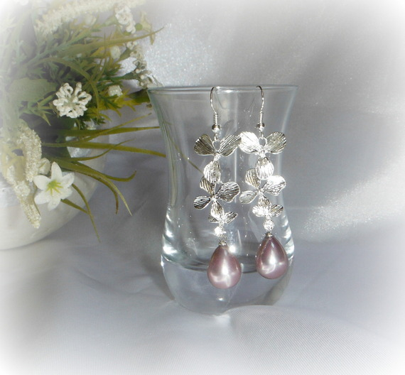 CARMEN - Boucles d'oreilles longues perle d'eau douce violet