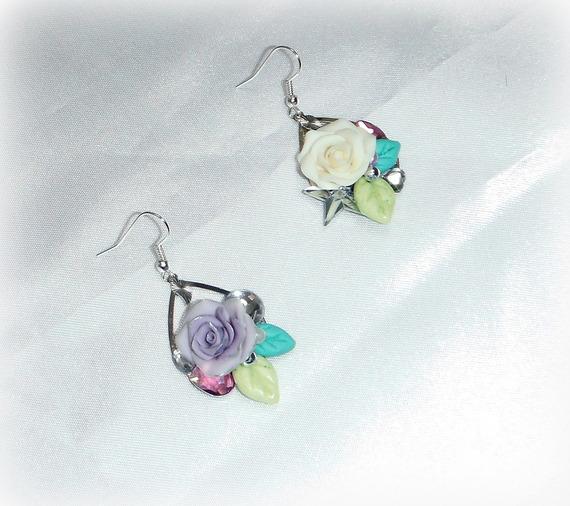 PHILIPPINE - Boucles d'oreilles dissociées fleurs PASTEL