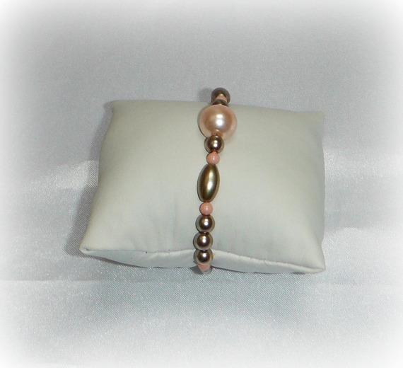 TALIA - Bracelet femme bronze et corail