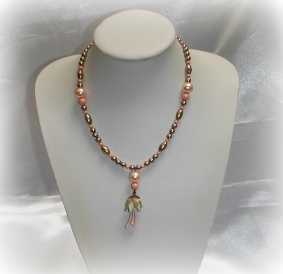 TALIA - Collier pendentif bronze taupe corail
