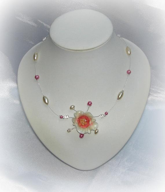 CLARISSE - Collier mariage FLEUR rose ivoire