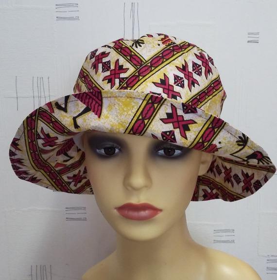 Chapeau à grand bord en coton wax