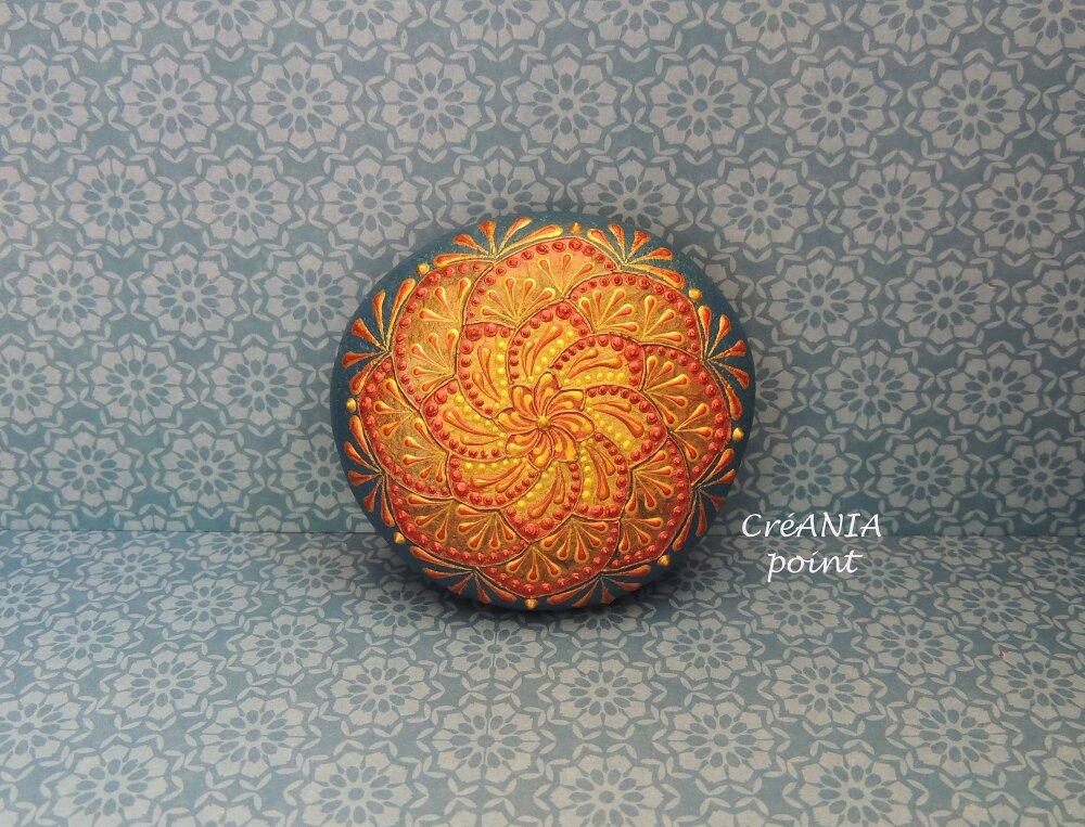 3D mandala sur galet peint a la main pour décor de méditation