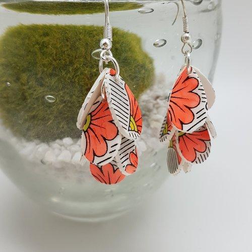 Boucles d'oreilles grappe fabric floral rouge fluo en fimo
