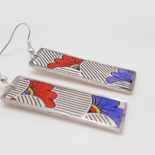 Boucles d'oreilles rectangle fabric floral  en fimo